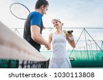 tennis players shaking hand... | Shutterstock . vector #1030113808