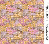 cute cartoon pattern with tiny... | Shutterstock .eps vector #1030117030