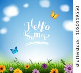 summer poster with grass and... | Shutterstock .eps vector #1030119550