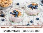 breakfast from fresh natural... | Shutterstock . vector #1030138180