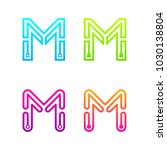 letter m colorful logotype with ... | Shutterstock .eps vector #1030138804