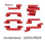 blue glossy ribbon banners set. ... | Shutterstock .eps vector #1030139839