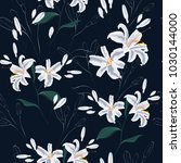 beautiful white lilies flowers. ... | Shutterstock .eps vector #1030144000