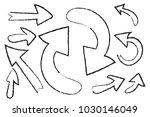 vector hand drawn arrow set in... | Shutterstock .eps vector #1030146049