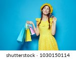 shopaholic  yellow dress  bags  ... | Shutterstock . vector #1030150114