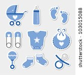 baby boy shower design icons | Shutterstock .eps vector #103015088