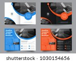 template of two bifold... | Shutterstock .eps vector #1030154656