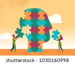 colleagues works on a great...   Shutterstock .eps vector #1030160998