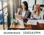 business working with woman and ... | Shutterstock . vector #1030161994