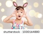 adorable asian little girl with ... | Shutterstock . vector #1030164880