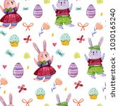 pattern with watercolor easter... | Shutterstock . vector #1030165240