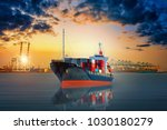 cargo ship carrying container... | Shutterstock . vector #1030180279