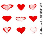 heart icons red  valentines day ... | Shutterstock .eps vector #1030183549