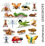 vector collection of insects... | Shutterstock .eps vector #1030184293