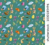 pattern with watercolor... | Shutterstock . vector #1030185496