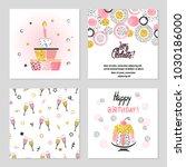 happy birthday cards set in... | Shutterstock .eps vector #1030186000