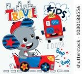 cute cartoon rat boy driving... | Shutterstock .eps vector #1030188556
