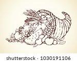 bounty wicker produce heap on... | Shutterstock .eps vector #1030191106