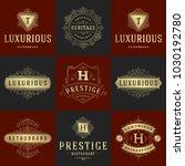 luxury logos templates set ... | Shutterstock .eps vector #1030192780