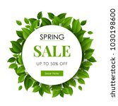 spring sale text with green... | Shutterstock .eps vector #1030198600