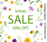 sale poster with flowers ... | Shutterstock .eps vector #1030198624