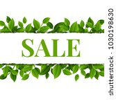 sale poster with leaves with... | Shutterstock .eps vector #1030198630