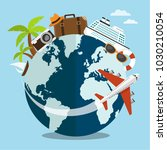 travel or tour around the world ... | Shutterstock .eps vector #1030210054