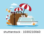 white cruise ship with suitcase ... | Shutterstock .eps vector #1030210060