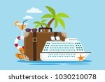 white cruise ship with suitcase ... | Shutterstock .eps vector #1030210078