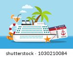 white cruise ship on the sea... | Shutterstock .eps vector #1030210084