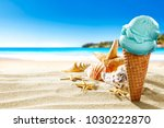 ice creams on beach and shells... | Shutterstock . vector #1030222870