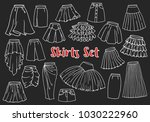 hand drawn women skirts set.... | Shutterstock .eps vector #1030222960