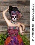 santa muerte halloween costume. ... | Shutterstock . vector #1030223119