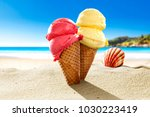 ice creams on beach and shells... | Shutterstock . vector #1030223419