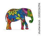 elephant ornate  sketch for... | Shutterstock .eps vector #1030226296