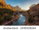 sunset over the virgin river... | Shutterstock . vector #1030228264