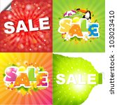 4 colorful sale posters with... | Shutterstock . vector #103023410