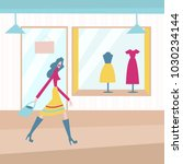 young woman walk in the fashion ... | Shutterstock .eps vector #1030234144