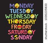 days of the week   emoji style. ... | Shutterstock .eps vector #1030235833