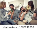 cheerful group of friends...   Shutterstock . vector #1030242250