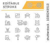 set line icons of concrete | Shutterstock .eps vector #1030243513