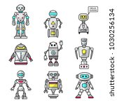 set of vector cartoon friendly... | Shutterstock .eps vector #1030256134