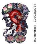 japanese tattoo design full... | Shutterstock .eps vector #1030260784