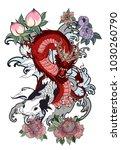 japanese tattoo design full... | Shutterstock .eps vector #1030260790