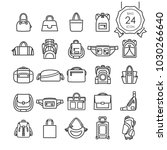 black line icons set of bags... | Shutterstock .eps vector #1030266640