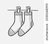 vector hand drawn socks hanging ... | Shutterstock .eps vector #1030268593
