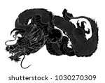 Silhouette Japanese Dragon...