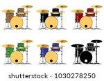 drum kit set vector illustration   Shutterstock .eps vector #1030278250