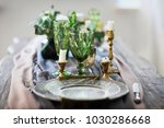 festive table decorated with... | Shutterstock . vector #1030286668