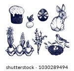 easter symbols set  hand drawn... | Shutterstock .eps vector #1030289494